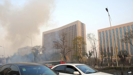 Deadly explosions at China Communist party office