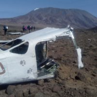 Kilimanjaro view with plane crashes